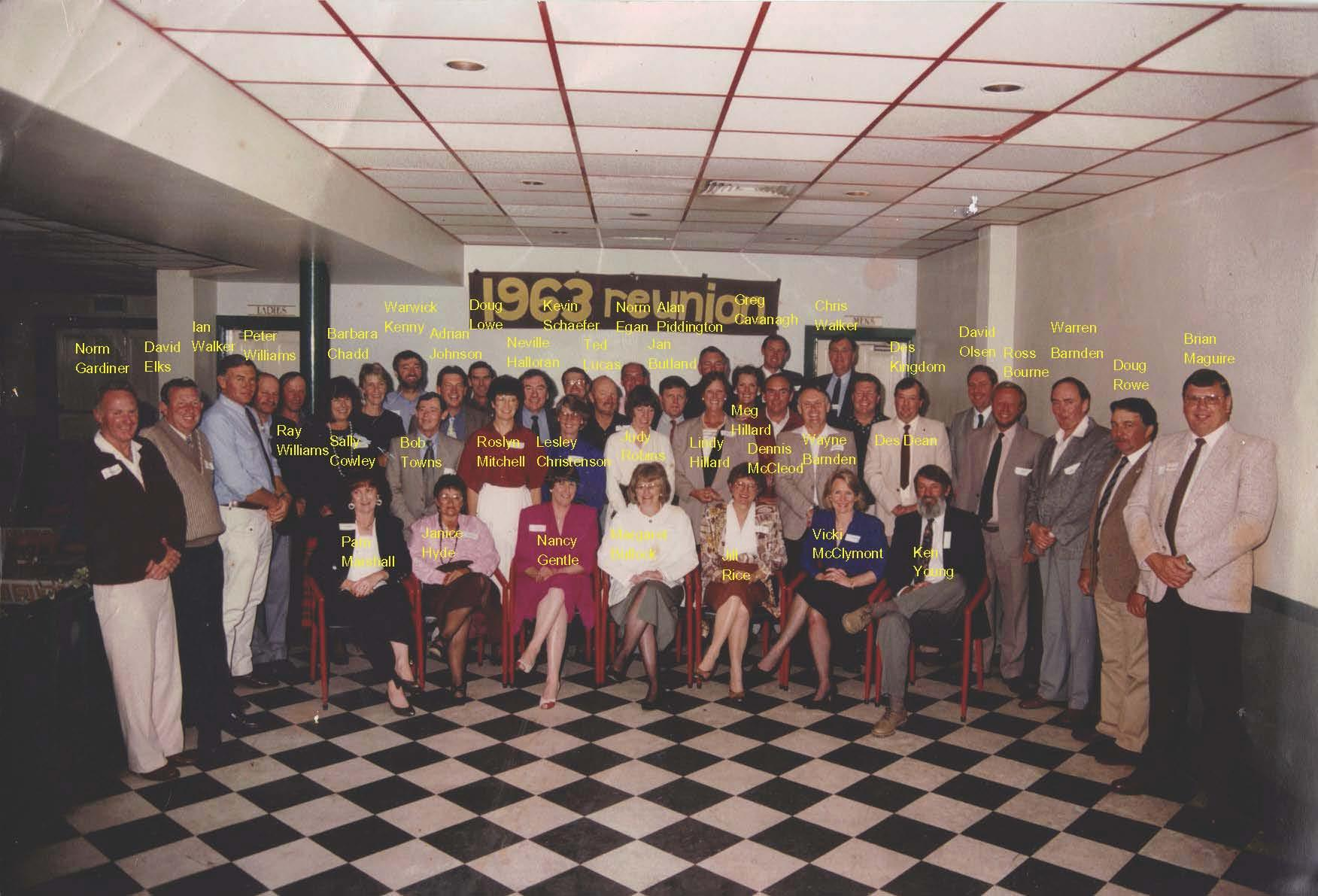 Members of the Class of 1963 at a reunion in 1993