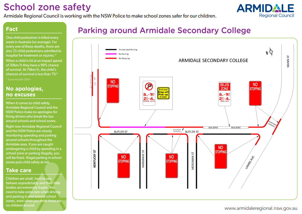 Armidale Regional Council school zones at ASC
