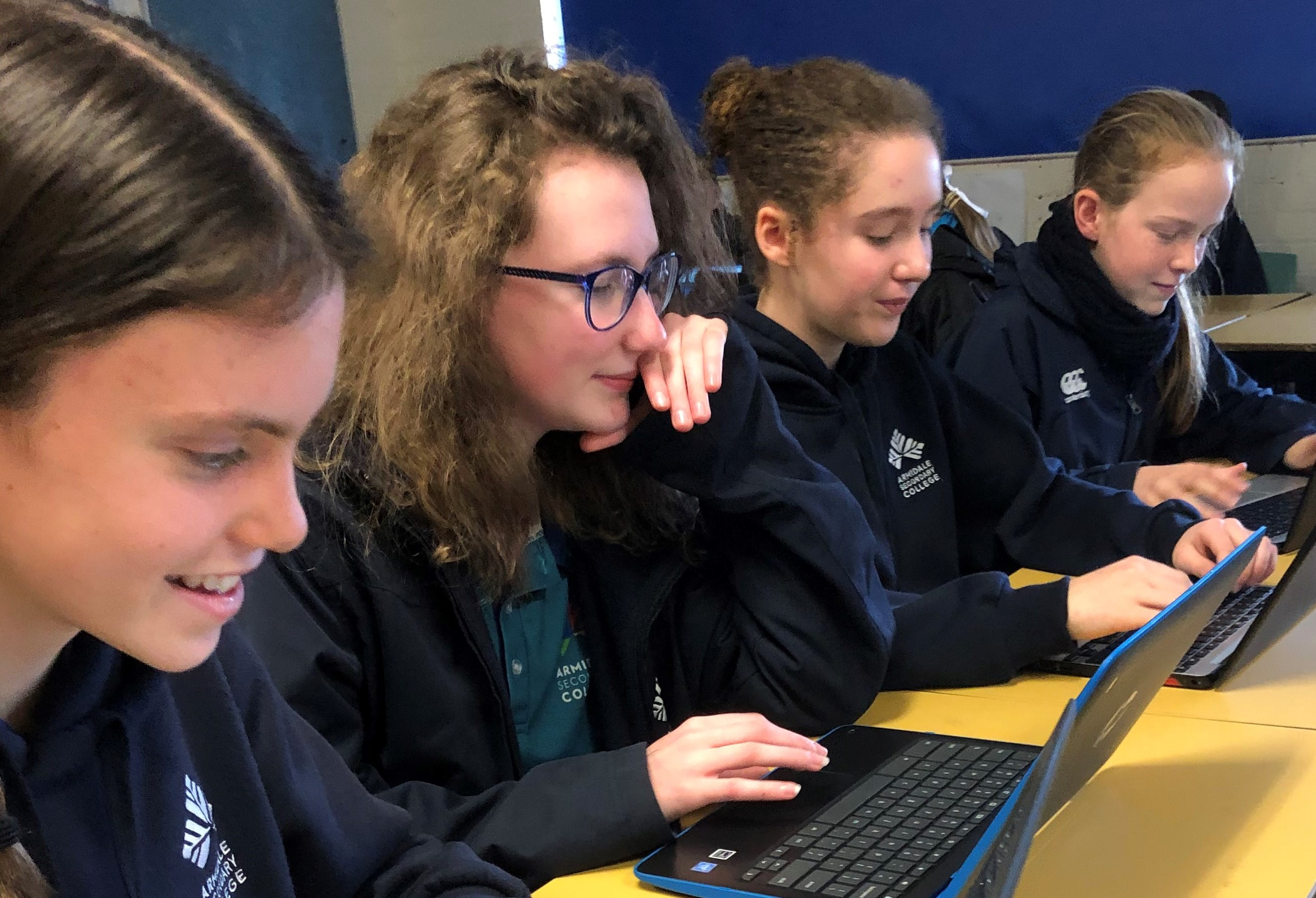 Year 8 girls studying with computers